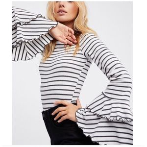 Free People striped bell sleeve top - L